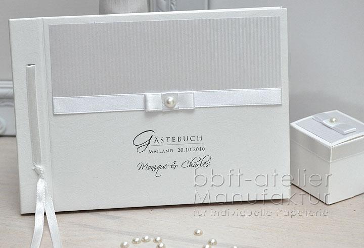 g stebuch hochzeit edel in wei mit perle bbft atelier. Black Bedroom Furniture Sets. Home Design Ideas