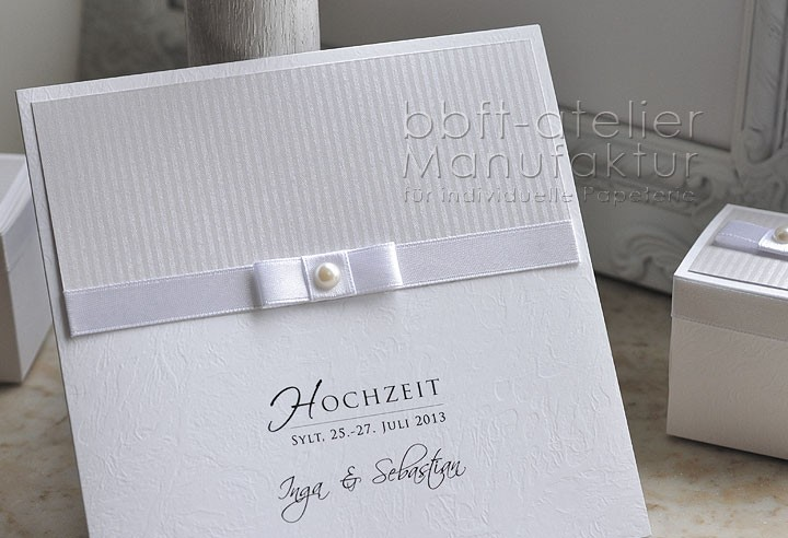 Einladungskarte Hochzeit weiß edel