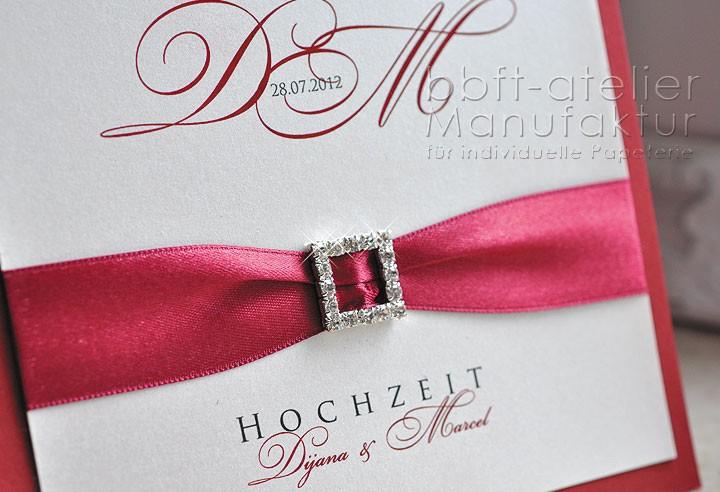 extravagante Hochzeitseinladung mit Straßsteinschnalle | BBFT-Atelier